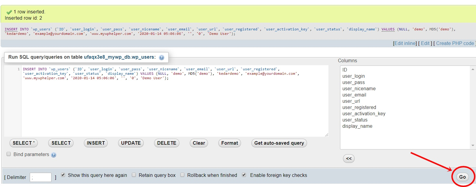 After insert Database wp_users table and insert options for create a new user by Database