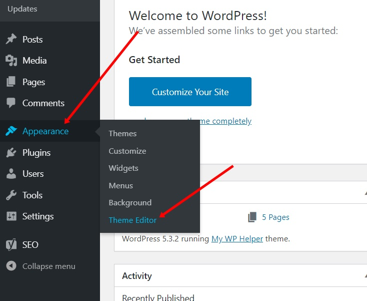 WordPress Themes Editor functions